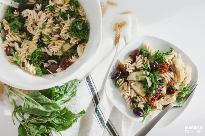 vegan mediterranean inspired pasta salad