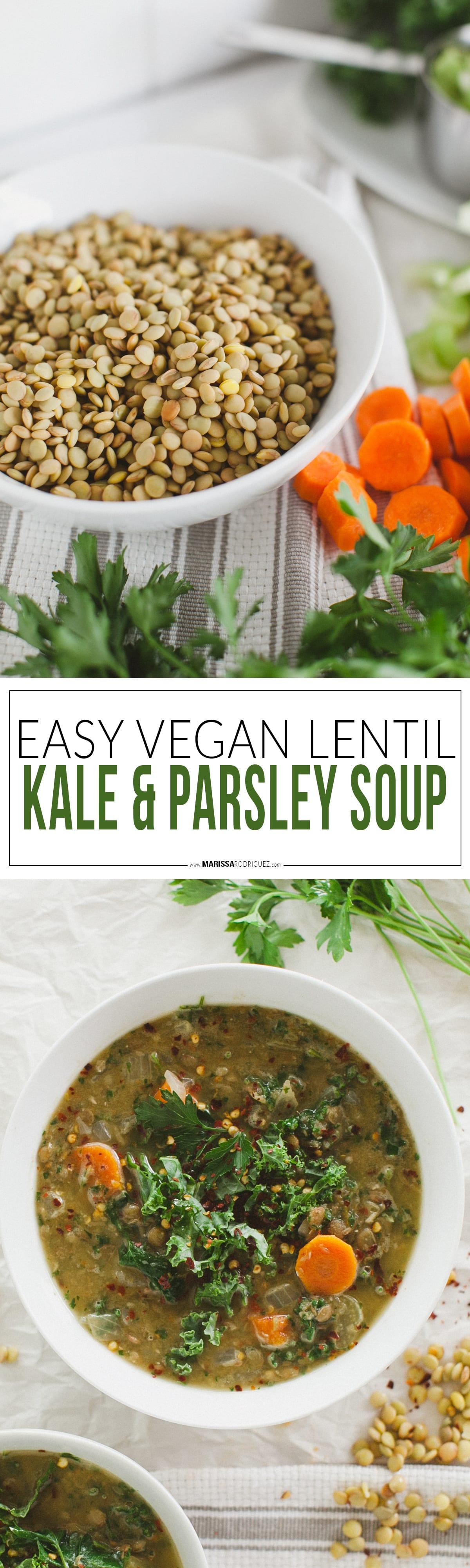 easy vegan lentil parsley and kale soup