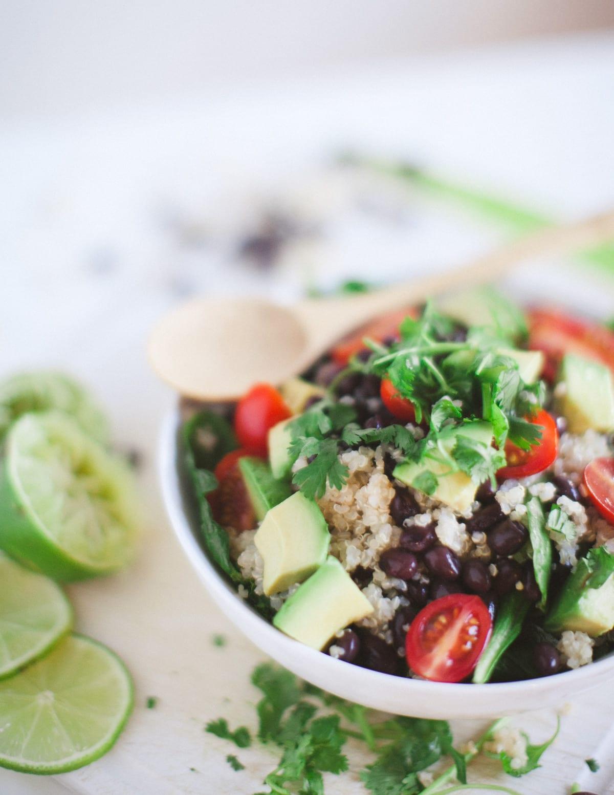 healthy black bean bowl plant-based