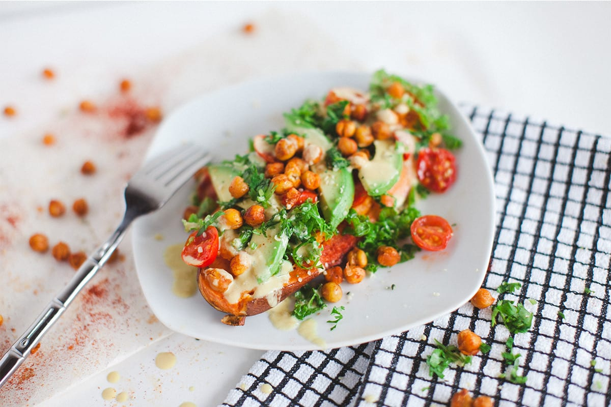 PLANT-BASED SWEET POTATO GARBANZO SALAD